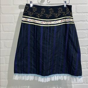 Anthropologie Snak skirt silk embroidered A lined